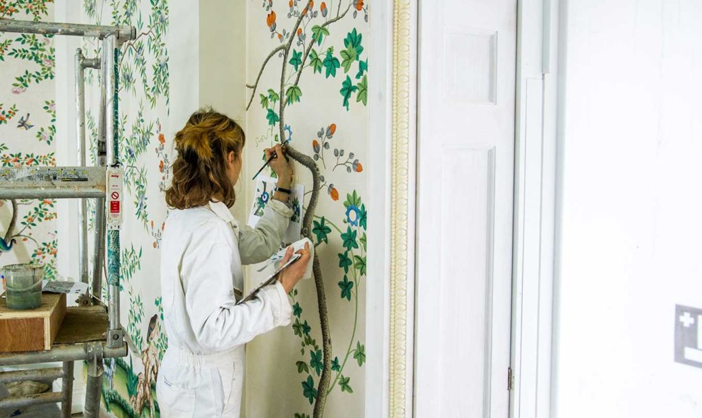 hand-painted Chinese wallpaper in the Upper Drawing Room